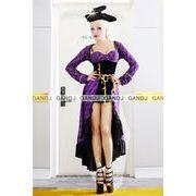 ロングドレス紫海賊/ハロウィン衣装/コスプレ衣装/海賊/7675