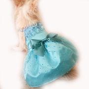 日本製 セレブスタイル 高品質ペットウェア 犬服のブルーの水玉レースドレス SS/S/M/MD-M/L