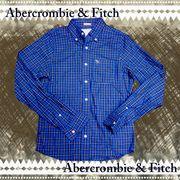 正規品【Abercrombie&Fitch】アバクロ★メンズ★シャツ★長袖★チェック★刺繍★ブルー