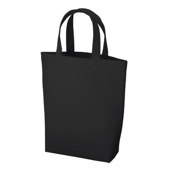 厚手コットンバッグヘビーウェイト(M)マチ付  ブラック / トートバッグ 無地 エコロジーバッグ