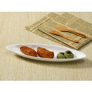【強化】 楕円皿(12号笹の葉紋)   パスタ皿/白食器
