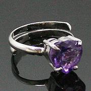《大きめストーン:フリーサイズ ファッションリング指輪/ファランジリング》 アメジスト(Amethyst)