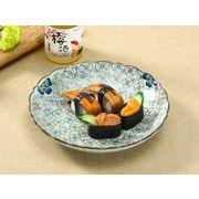 【強化】 9号飾り枠丸皿(青い椿)    おうち料亭/中皿/大皿/丸皿/和食器