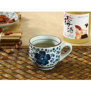 【強化】 コーヒーカップ(青い椿)(150ml)   コップ/カップ/和食器
