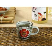 【強化】 エスプレッソコーヒーカップ(赤い椿)(75ml)   コップ/カップ/和食器