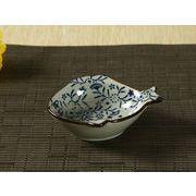 【強化】 魚型小皿(青い花集い)    おうち料亭/和食器/小皿