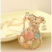 宝石袋 綺麗なキャッツアイストーンが沢山付いた 巾着ペンダント ネックレス GW-1235