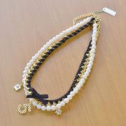 【Coffret Etoile】【新作/ネックレス】パール×ゴールドチェーンネックレス【no.2】/ゴールド/リボン