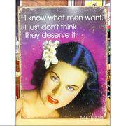 アメリカンブリキ看板 私は男性が望むものを知ってる