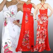 バックリボン&段フリル 花柄 ロングドレス