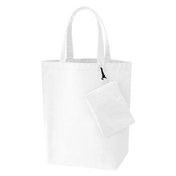 コンパクトバッグ(L)ポーチ付 / ホワイト / トートバッグ A4 無地 エコロジーバッグ