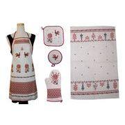 キッチン雑貨&エプロン5点セット 「フォークロア刺繍柄」
