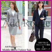 【A1-SS】アサコ七分袖3点セットスーツ(j5014)ビジネス 通勤 リクルート