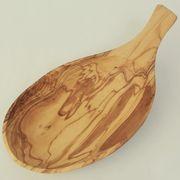 オリーブ木 バター皿 木の葉型 大