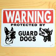 アメリカン雑貨 看板 プラスチックサインボード 番犬に注意 Warning Guard Dogs CA-17