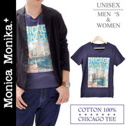 Monica Monika+ コットン100%Tシャツ☆ユニセックスネイビーVネックTシャツ