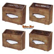 【アンティーク風★木製ティッシュボックス★壁に取り付け可能♪全4柄】WOOD TISSUE BOX