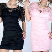胸元ビジュ袖レースミニドレス