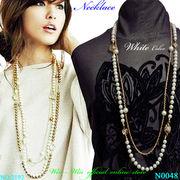 ネックレス フラワーチャームデザインとパールビーズのレディ-スファッションネックレス