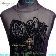 ネックレス ヴィンテージクロスデザインのレディ-スファッションネックレス