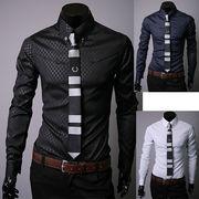 メンズ 長袖Yシャツ大きいサイズ M-5XL 5色 100748