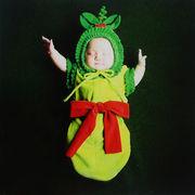 格安☆撮影写真★3-6ヶ月★幼児★フリル★豆★蝶結び+帽子+ロンパース★セット