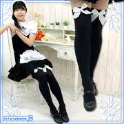 ■送料無料■ リボン付きニーハイ 色:黒×白リボン サイズ:フリー ■ニーソ■オーバーニー■