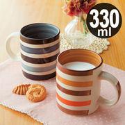 【新商品】★2色★ 手描きボーダーマグカップ