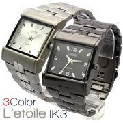 【L'etoile】スクエアフェイス メンズ 腕時計 IK3