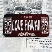 好きな文字にできるアメリカナンバープレート(小・自転車用サイズ)ハワイ・ティキ木目