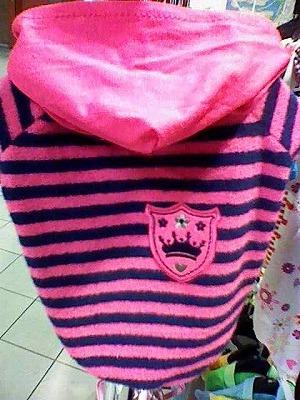 セール☆人気の格安犬服☆タオル地 半パーカーピンクx紺 これからちょうどいいです