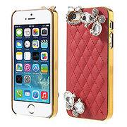 iPhoneSE / iPhone5s iPhone SE iPhone 5s ラインストーンケース ダイヤモンドバタフライ  レッド