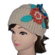 帽子 レディース ニット帽子B 花柄 毛糸帽子 ボンボン付 7色