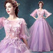 ファスナータイプ トレーン ドレス 豪華なウエディングドレス 二次会ビスチェタイプ 刺繍 結婚式