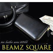 BEAMZSQUARE ヌメ革ラウンドファスナー長財布(スリムスタイルver.) BS-1624BK
