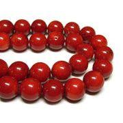 珊瑚(染色) 真紅 約12mm 長さ約40cm 連販売