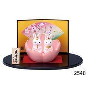 ★ひな祭りを飾る★ 陶製の雛人形 【錦彩 うさぎ桜雛】