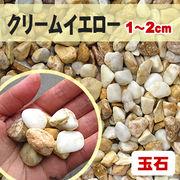 【送料無料】玉石砂利 クリームイエロー/薄黄色 粒1-2cm 300kg(約5平米分)