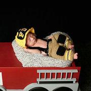 格安!撮影写真★ハンドメイド★0-6ヶ月★ベビー★消防士扮装★ニット★帽子+吊りズボン