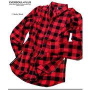 ★ロック系・ダンス系ファッションに最適!★裾部分がジッパーで開閉可能なブロックチェックシャツ★