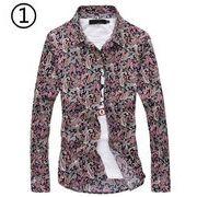花柄シャツ メンズ 長袖 春 カジュアルシャツ シンプル