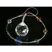 サンキャッチャー クリスタルガラス チャクラカラー  42cm