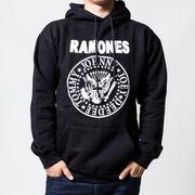 プルオーバー ロックパーカー Ramones ラモーンズ ホワイトロゴ カラー:ブラック