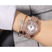MAS レディース 豪華ラインストーン石使用 クォーツ 腕時計 M-9010