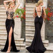 欧米style!胸元金糸刺繍レースデザイン 美脚魅せセクシーロングドレス