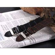 【腕時計 交換用ベルト】本革カーフレザー・クロコ型押し・替えベルト[20mm・22mm×2色] PLCMS30