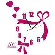 HARRY CLOCK ウォールステッカー 時計付き 転写式 リボンのクロック (ribbon wall clock) ピンク