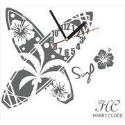 HARRY CLOCK ウォールステッカー 時計付き サーフボード (surfboard) グレー 約45×45cm