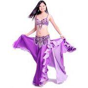 a571【ベーリーダンス】ブラ+ベルト+スカートのセット[薄紫]