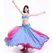 a577【ベーリーダンス】ブラ+ベルト+スカートのセット[水]
